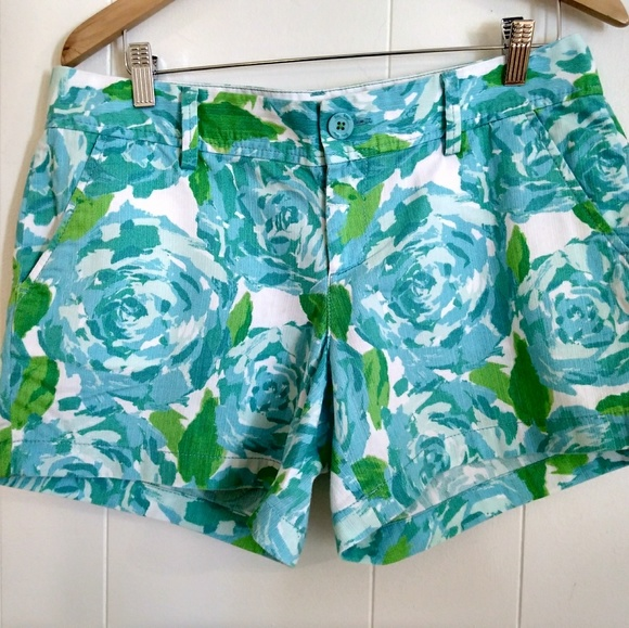 Shorts Lilly Pulitzer Shorts 10 Green Aqua White Print